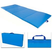 4'x10'x2 Gymnastics Gym Folding Exercise Aerobics Mats Blue