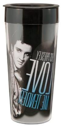 Vandor 47351 Elvis Presley 16 oz Plastic Travel Mug, Black,