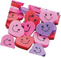 "48 ~ Heart Smile Face Mini Erasers ~ 3/4"" ~ New ~ Wedding"
