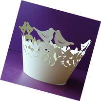 DUFUSTORE 50x Pearly Paper Love Bird Design Vine Lace