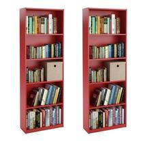 Ameriwood 5-shelf Bookcases, Red, Set of 2