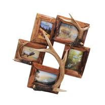 River's Edge Products 5 Picture Antler/Wood Frame