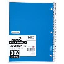 Mead 5 Subject Notebook, College Rule, 8-1/2 X 11, White,