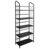 5-Tier Metal Wire Bookcase in Black Finish