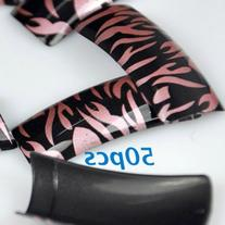 50 Pink Black Zebra Style French False Nail Tips NEW by