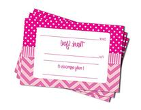 50 Pink Chevron Fill-in Thank You Cards - Baby Shower -