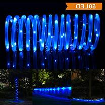 LTE 50 LED Solar Rope Lights, 23ft, 16.5ft rope lights and 6