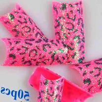 50 Stunning Glitter Dark Pink French False Nail Art Tips NEW