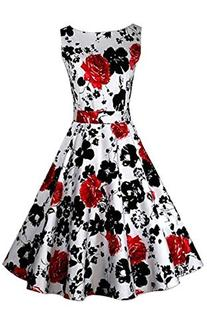 ACEVOG 50s Hepburn Style Vintage Sleeveless Floral Swing