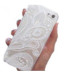5s Case, LUOLNH Henna White Floral Paisley Flower Hard