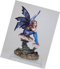 6.25 Inch Nice Blue Fairy Sitting on Mushroom Statue