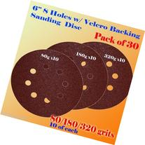 "6 Inche 6"" 8 Hole 80/180/320 Grit Sand Disc Paper Random"