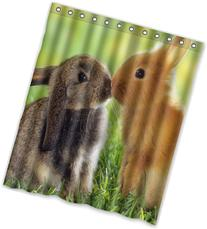 """60""""x72"""" Inches A pair of cute fluffy bunny Rabbits Shower"""