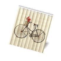 "66"" x 72"" Vintage Bicycle Bike with Flowers Bathroom Shower"
