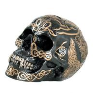 7 Inch Black and Gold Color Celtic Pattern Skull Statue
