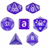 7 Die Polyhedral Dice Set - Translucent Purple with Velvet