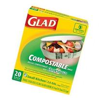Glad 78162 Compostable Bags, 0.88 mil, 2.6 gal