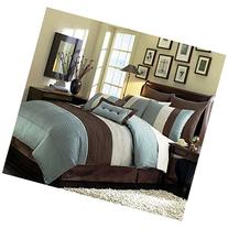 8 Pieces Beige, Blue and Brown Stripe Comforter  Bed-in-a-