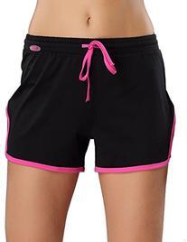 Yvette Women's Running Sports Shorts #8027, Grey/Rose, XL