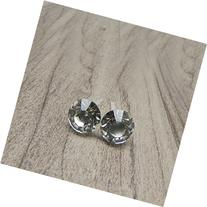 8mm Round Clear Rhinestone Earrings on Hypoallergenic
