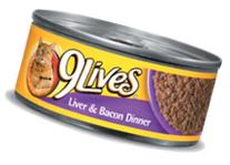 9 Lives Liver and Bacon Dinner Canned Cat Food 5.50 oz, 4-