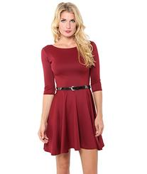 Womens 3/4 Sleeve Skater Dress