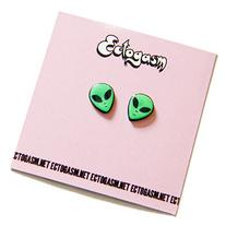 90s Grunge Alien Head Earrings in Green, UFO rave jewelry