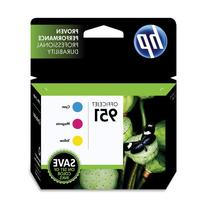 HP 951 Cyan, Magenta & Yellow Officejet Ink Cartridges, 3