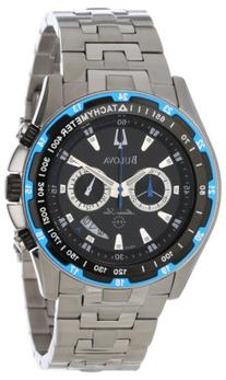 Bulova Men's 98B120 Marine Star Black Dial Bracelet Watch