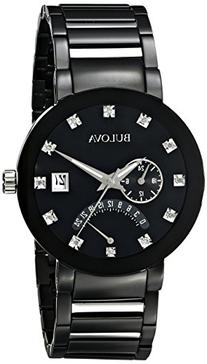 Bulova Men's 98D109 Diamond-Accented Black Stainless Steel