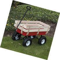ARKSEN Full Size All-Terrain Steel and Wood Wagon, Red