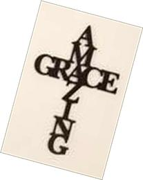 Amazing Grace Cross Black 30 x 12 Wood Cutout Wall Word