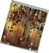 Ambesonne Old Twisted Tree Print Polyester Fabric Shower