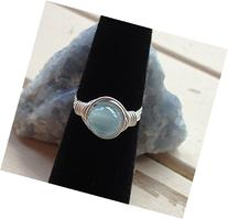 Artisan Wire wrapped Blue Cats-Eye Gemstone Ring