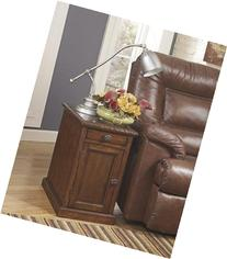 Ashley T127-553 Power Chairside End Table Dark Brown Finish