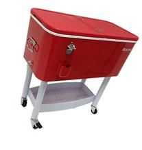 BEACON Rolling Party Cooler, Red Steel with metal storage,