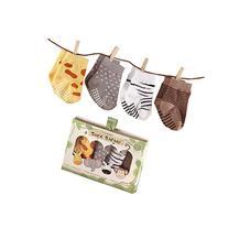 Baby Aspen, Sock Safari Four-Pair Animal-Themed Socks Set, 0