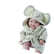 Baby Aspen, Squeaky Clean Mouse Hooded Spa Robe, Gray, 0-6