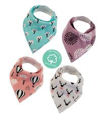 Baby Bandana Drool Bibs 4 Pack for Girls, Hypoallergenic