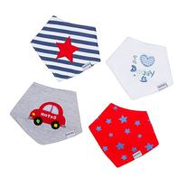 Baby Bandana Drool Bibs with Adjustable Snaps - 4-Pack -