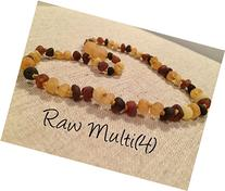 Baltic Amber Teething Necklace Raw Multi 12.5 Inch Rainbow