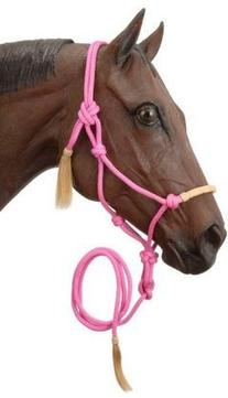 Tough 1 Tough-1 Rawhide Noseband Rope Halter with Lead, Pink
