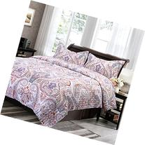 Printed Quilt Coverlet Set King Crimson Blue Paisley Pattern