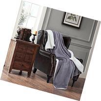 BEDSURE Sherpa Fleece Blanket Twin Size Grey Plush Throw