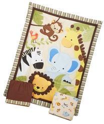 Bedtime Originals Jungle Buddies 3 Piece Crib Bedding Set,