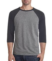 Bella + Canvas Unisex 3/4-Sleeve Blended Baseball Tee - Grey