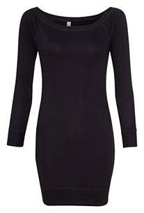 Bella womens Lightweight Sweater Dress-BLACK-L