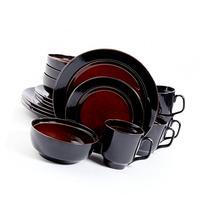 Bella Galleria 16 Piece Dinnerware Set, Red/Black