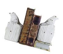 Bellaa Whitewashed Bird Bookends