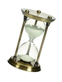 Deco 79 Metal/Glass Quarter Hourglass with 15 Minutes Time